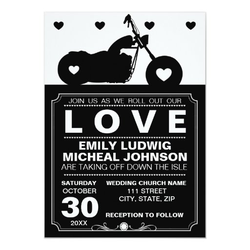 "Black & White Motorcycle Biker Silhouette Wedding 5"" X 7"" Invitation Card"