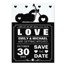 Black & White Motorcycle  Silhouette Save the Date 5x7 Paper Invitation Card