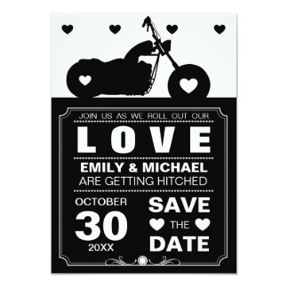 Black & White Motorcycle  Silhouette Save the Date Custom Invitations