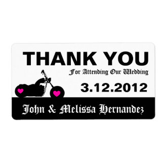 Black & White Motorcycle Thank You Label