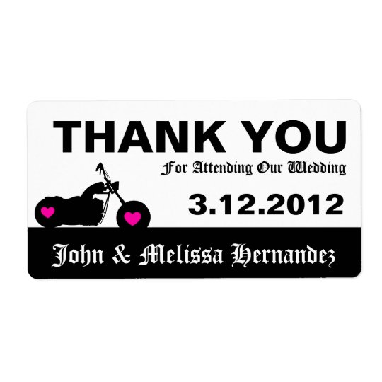 Black & White Motorcycle Thank You Label