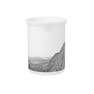 Black White Mountain Tree Southwest Scenery Beverage Pitcher