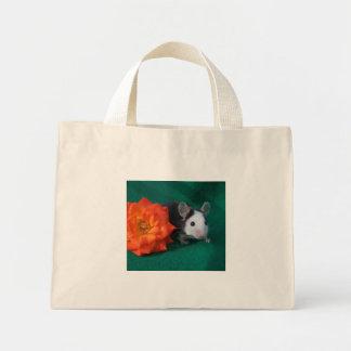Black White Mouse and Orange tea rose Mini Tote Bag