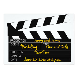 Black White Movie Theme Wedding Invitation