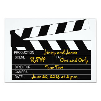 "Black White Movie Theme Wedding RSVP Cards 3.5"" X 5"" Invitation Card"