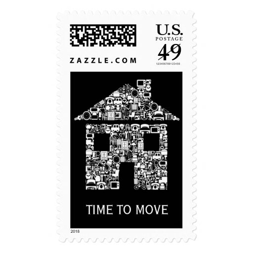Black & White Moving House Home Postage