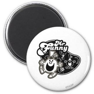 Black & White Mr. Funny 2 Inch Round Magnet