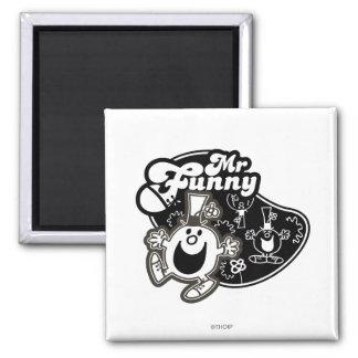 Black & White Mr. Funny 2 Inch Square Magnet
