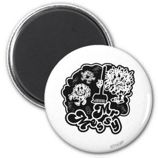 Black & White Mr. Messy Cleaning Magnet