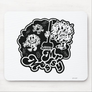Black & White Mr. Messy Cleaning Mouse Pad