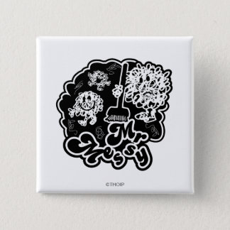 Black & White Mr. Messy Cleaning Pinback Button
