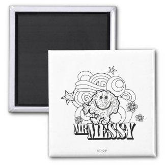 Black & White Mr. Messy | Stars & Swirls Magnet