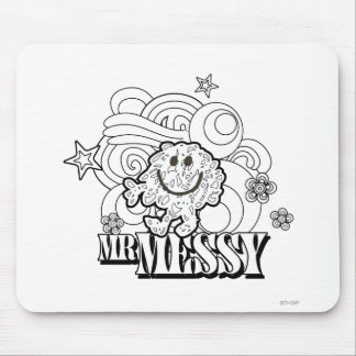 Black & White Mr. Messy | Stars & Swirls Mouse Pad