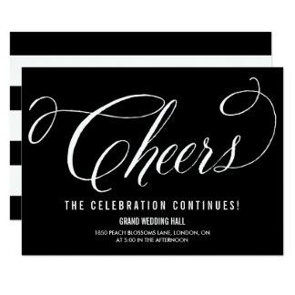 Black & White Mr. & Mrs. Elegant Script Reception Invitation