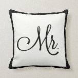 "Black & White ""Mr."" pillow, personalized on back"