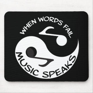 Black | White Music Lover Trendy Modern Quote Cool Mouse Pad