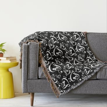 Valentines Themed Black White Music Notes Bass Treble Clef Hearts Throw