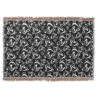 Black White Music Notes Bass Treble Clef Hearts Throw