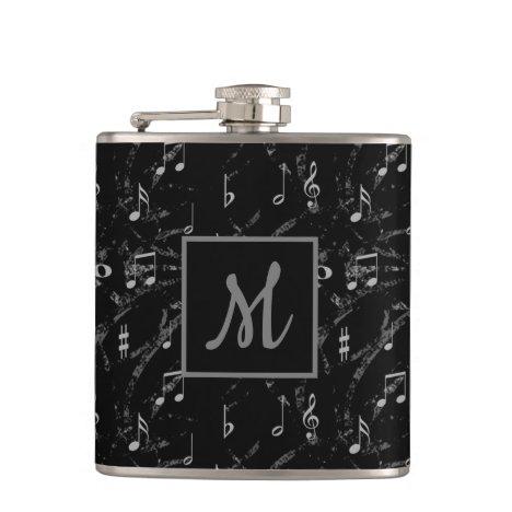 Black & White Music Notes Monogrammed Flask