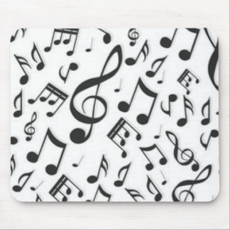 Black & White Music Notes Patter Print Mouse Pad