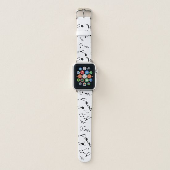 Black White Music Notes Pattern Apple Watch Band