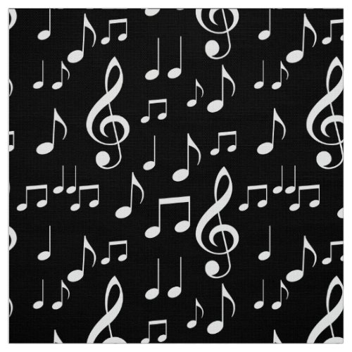 Black white music notes pattern fabric