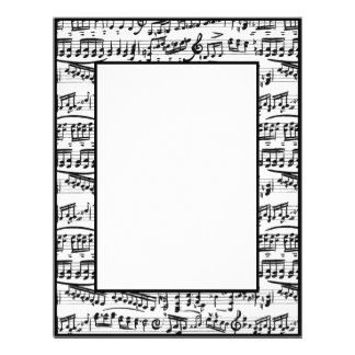 Black white music notes stationary paper personalized letterhead