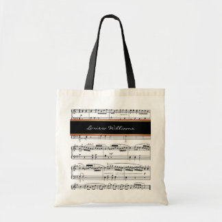black-white music notes with name, custom tote bag