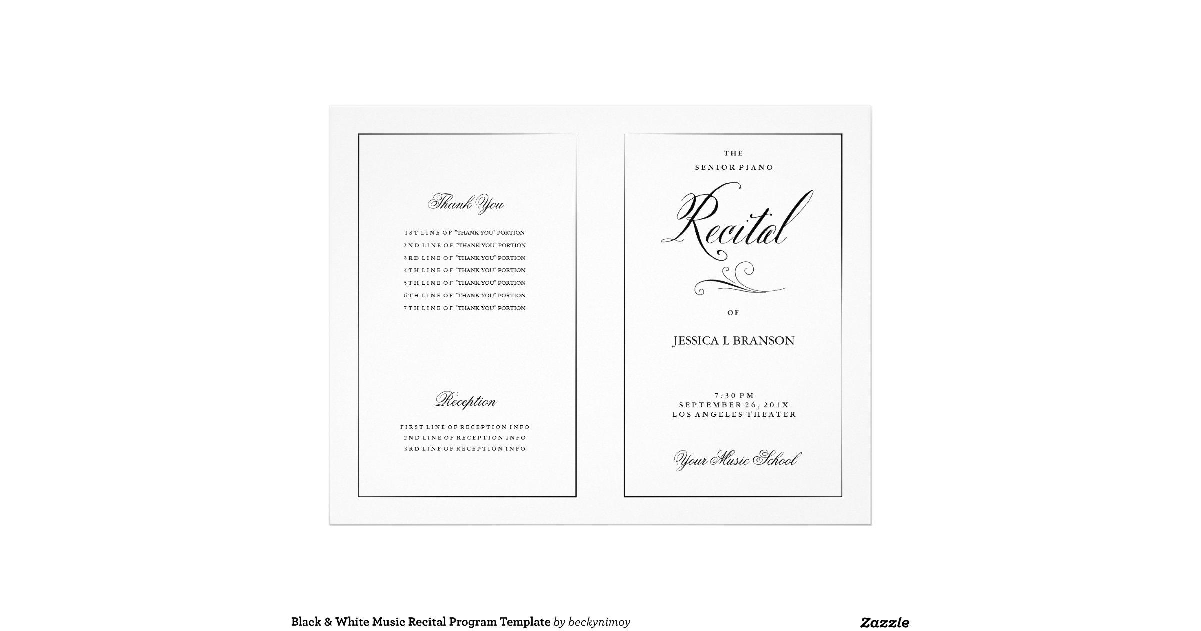 Snap Black White Music Recital Program Template Flyer Zazzle Photos