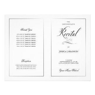 "Black & White Music Recital Program Template 8.5"" X 11"" Flyer"
