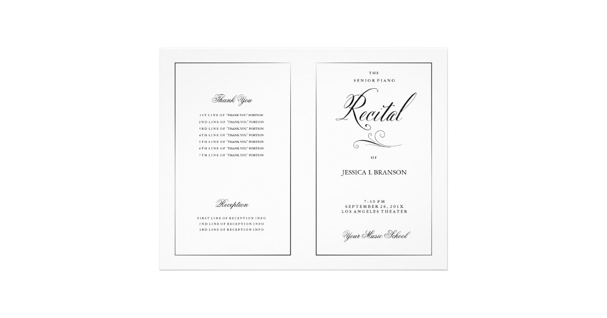 Black & White Music Recital Program Template Flyer