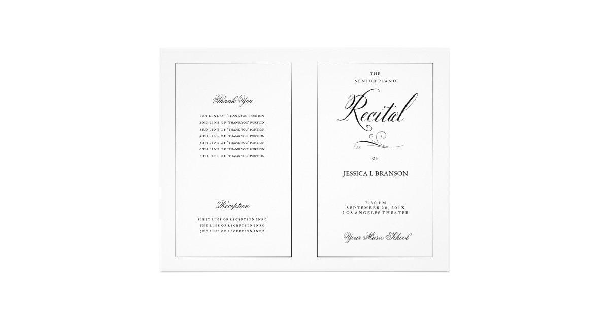 black  u0026 white music recital program template flyer