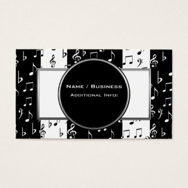 Professional Business Black & White Musical Stripes Business Card 3
