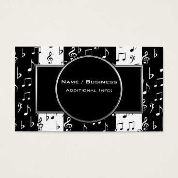 Professional Business Black & White Musical Stripes Business Card 4