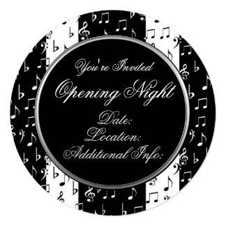 Black & White Musical Stripes Round Invitation