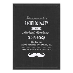 Black & White Mustache Bachelor Party Invitation