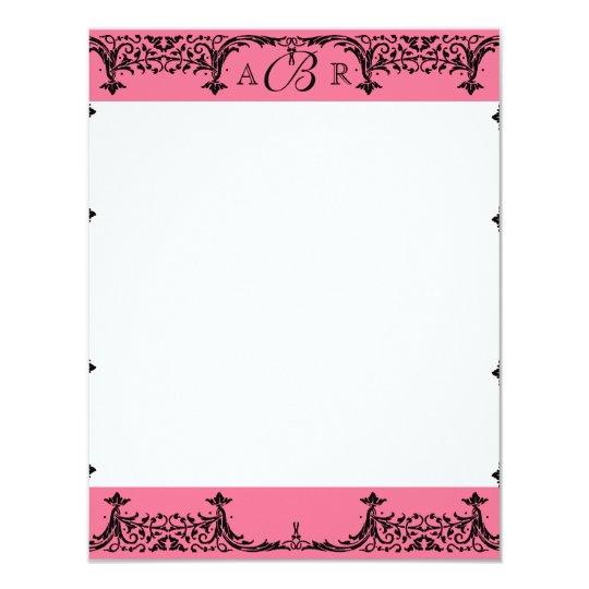 Black, White n Hot Pink Damask Thank You Notes Card