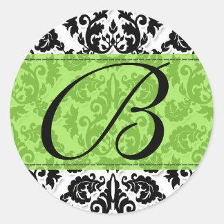Black White n Lime Fleur de Lis Damask Sticker
