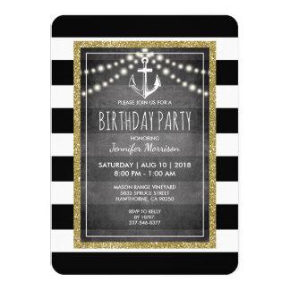 Black White Nautical Stripe Birthday Party Card