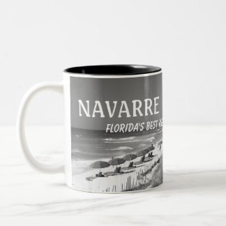 Black & White Navarre Beach Coffee Cup