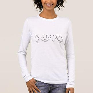 Black & White Negative Card Suits Long Sleeve T-Shirt