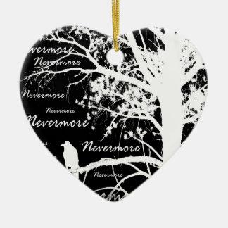 Black & White Negative Nevermore Raven Silhouette Ceramic Ornament