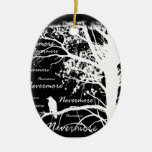 Black & White Negative Nevermore Raven Silhouette Double-Sided Oval Ceramic Christmas Ornament