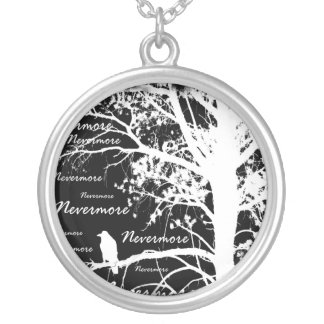 Black & White Negative Nevermore Raven Silhouette Silver Plated Necklace
