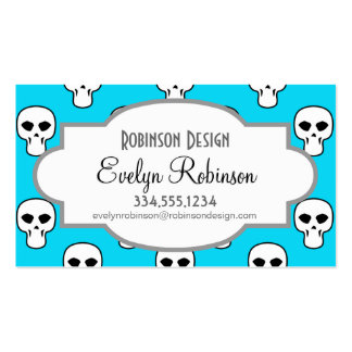 Black, White, Neon Blue Skulls Pattern Business Card