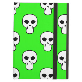 Black, White, Neon Green Skulls Pattern iPad Air Cases