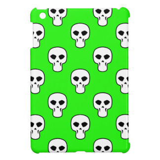 Black, White, Neon Green Skulls Pattern Cover For The iPad Mini