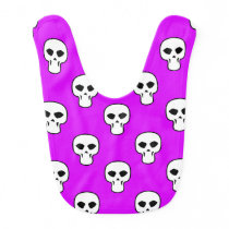 Black, White, Neon Purple Skulls Pattern Bib
