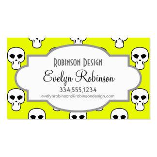 Black, White, Neon Yellow Skulls Pattern Business Card