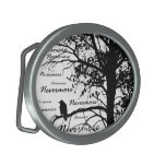 Black & White Nevermore Raven Silhouette Oval Belt Buckles